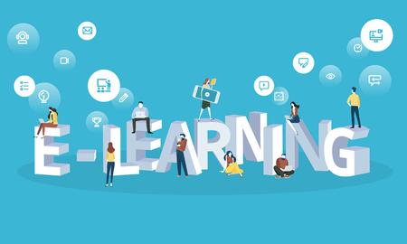 Banner de web de estilo de design plano para e-learning, educação a distância, aprendizagem on-line. Conceito de ilustração vetorial para web design, marketing e material de impressão. Foto de archivo - 88065047