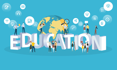Flat design style web banner for education, university for all, future professions. Vector illustration concept for web design, marketing, and print material.