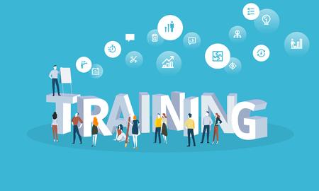 フラットなデザイン スタイル web バナー トレーニング コース、スタッフのトレーニング、オンライン教育、専門の訓練。Web デザイン、マーケティ