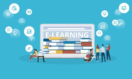 평면 디자인 스타일 웹 배너 전자 학습, 전자 책, 원격 교육, 온라인 수업. 벡터 일러스트 레이 션 웹 디자인, 마케팅 및 인쇄 자료에 대 한 개념.