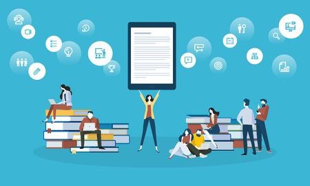 Bannière Web de style design plat pour l'apprentissage en ligne, les applications d'éducation, les ebooks, les cours de formation en ligne, les tutoriels. Concept d'illustration vectorielle pour la conception de sites web, de marketing et d'impression.