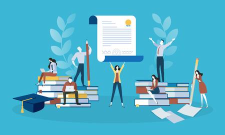 Baner internetowy w stylu Płaska konstrukcja dla edukacji, wiedzy, certyfikatu, szkoleń. Wektor ilustracja koncepcja projektowania stron internetowych, marketingu i materiałów drukowanych.