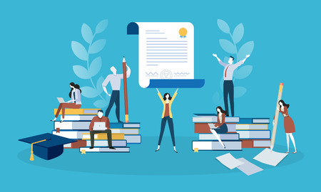 Flat design style web banner for education, knowledge, certificate, training courses. Vector illustration concept for web design, marketing, and print material.