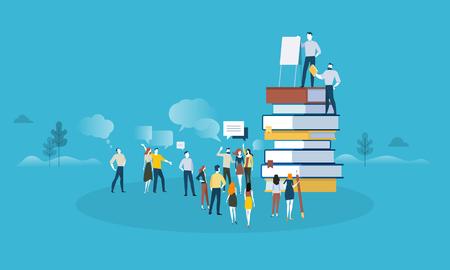 Bannière web style design plat pour la formation professionnelle, les solutions d'éducation, la spécialisation, améliorer les compétences professionnelles. Concept d'illustration vectorielle pour la conception web, le marketing et le matériel d'impression.