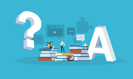 Flat design style web banner for answer to all the questions, FAQ, video tutorials, online trainings. Vector illustration concept for web design, marketing, and print material.  イラスト・ベクター素材