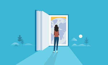 Banner web in stile design piatto per l'istruzione per tutti, porta a tutto il mondo, conoscenza globale. Concetto di illustrazione vettoriale per web design, marketing e materiale di stampa.