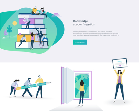 Flat design banner and elements of education. Vector illustration concept for web design, marketing, and print material.