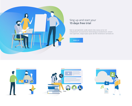 Flat design banner and elements of distance education, video tutorial, online training courses, education apps, annual teaching plan, for website design. 版權商用圖片 - 88065083