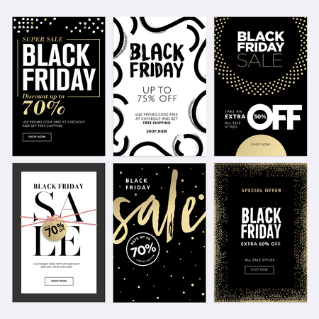 Black Friday-verkoopbanners. Stock Illustratie