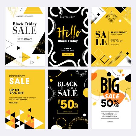Black Friday sale banners.  イラスト・ベクター素材