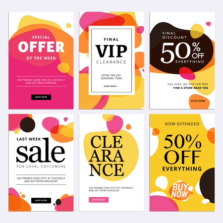 Black Friday sale banners. Set of social media web banners for shopping, sale, product promotion, clearance sale. Vector illustrations for website and mobile website banners, posters, email and newsletter designs, ads, promotional material. Illusztráció