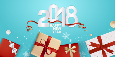 Vector illustration of New Year 2018 greeting card. Design template for greeting card, web banner, flayer brochure, party invitation card. Imagens - 89102240
