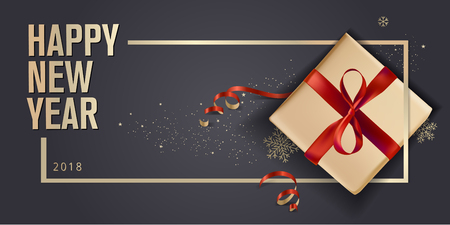 New Year greeting card. Luxurious vector illustration concept for greeting cards, web banner, flayer brochure, party invitation card. Imagens - 89312209