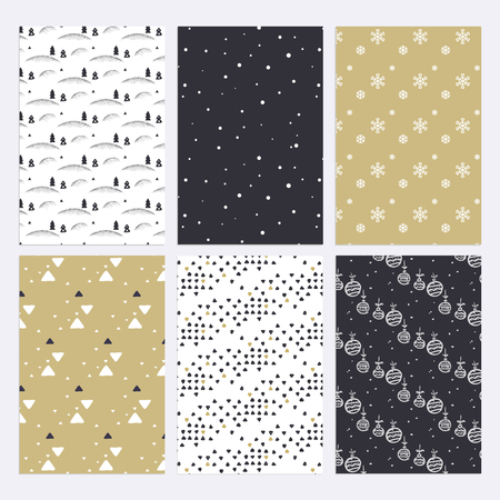 Set of flat design Christmas and New Year seamless patterns for wallpaper, web page background, pattern fills, scrapbook paper, textile, print templates, promotional material, wrapping paper Illustration