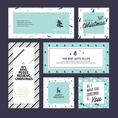 Set of flat design Christmas and New Year greeting cards. Vector illustration templates for greeting cards, web banner, flayer brochure, party invitation card.