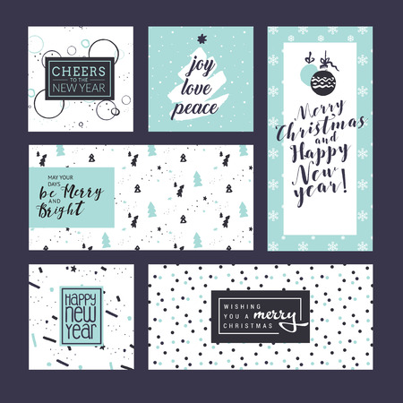 Flat design style Christmas and New Year greeting cards. Vector illustration templates for greeting cards, web banner, flayer brochure, party invitation card. Illustration