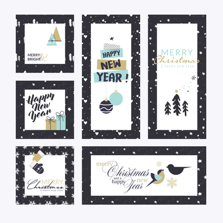 Christmas and New Year greeting cards collection. Flat design vector illustration concepts for greeting cards, web banner, flayer brochure, party invitation card.
