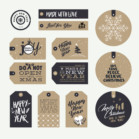 Set of Christmas and New Year gift tags. Flat design style vector illustration templates for winter sale, Christmas and New Year product presentation, marketing. Illustration