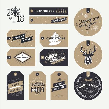 Set kerst en Nieuwjaar cadeau tags. Platte ontwerp stijl vector illustratie sjablonen voor winter verkoop, Kerstmis en Nieuwjaar productpresentatie, marketing. Stock Illustratie
