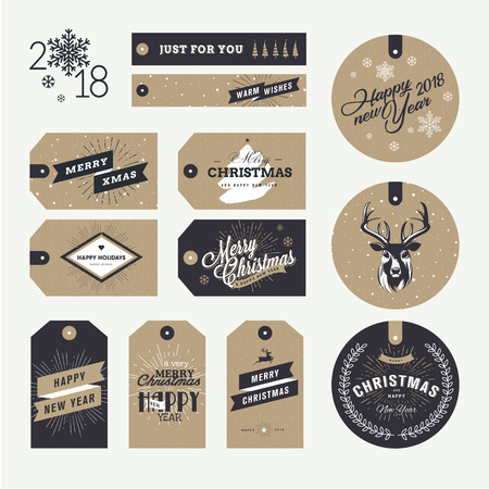 Set of Christmas and New Year gift tags. Flat design style vector illustration templates for winter sale, Christmas and New Year product presentation, marketing. Illusztráció