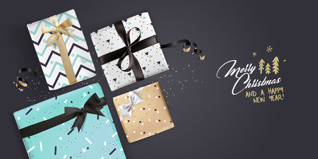 Christmas greeting card. Luxurious vector illustration concept for greeting cards, web banner, flayer brochure, party invitation card.