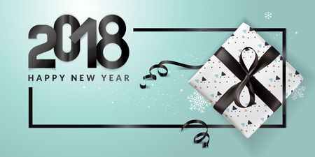 Modern New Year 2018 greeting card design. Vector illustration concept for greeting cards, web banner, flayer brochure, party invitation card.