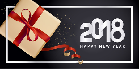New Year greeting card. Vector illustration concept for greeting cards, website and mobile banners, marketing material. Illustration