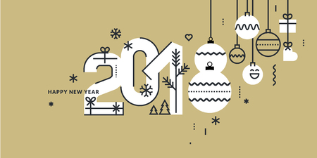 new year 2018 greeting card flat line style vector illustration