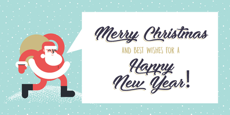 Christmas and New Years flat design style greeting card. Vector illustration template for greeting cards, website and mobile banners, marketing material.
