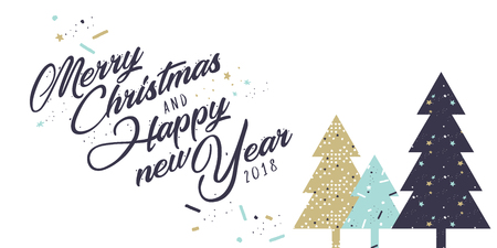 Christmas and New Year greeting card. Flat design vector illustration template for greeting cards, website and mobile banners, marketing material.