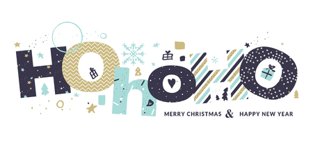 Christmas and New Year greeting card design.