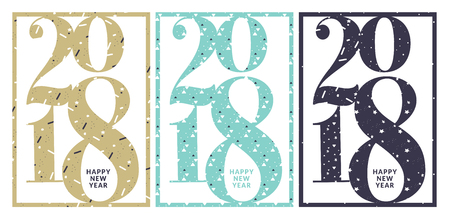 Set of New Years greeting card. Flat design vector illustration template for greeting cards, website and mobile banners, marketing material.