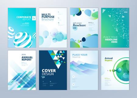 Conjunto de brochura, relatório anual, modelos de design de folheto em tamanho A4. Ilustrações vetoriais para apresentação de negócios, papel de negócios, capa de documento corporativo e desenhos de modelo de layout.