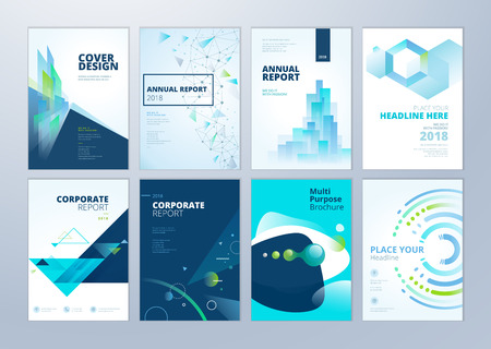 Set of brochure, annual report, flyer design templates in A4 size. Vector illustrations for business presentation, business paper, corporate document cover and layout template designs. Vectores