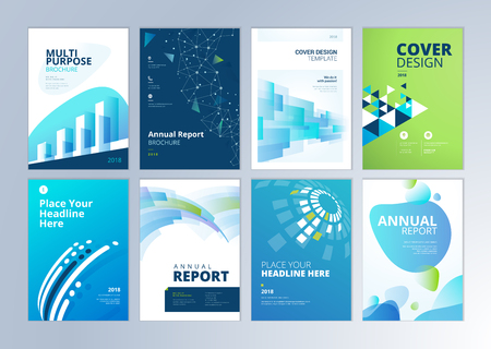 Set of brochure, annual report, flyer design templates in A4 size. Vector illustrations for business presentation, business paper, corporate document cover and layout template designs. Vettoriali