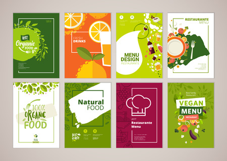 Set of restaurant menu, brochure, flyer design templates in A4 size. Vector illustrations for food and drink marketing material, ads, natural products presentation templates, cover design.