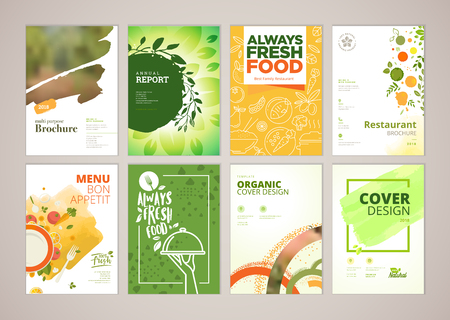 Set of restaurant menu, brochure, flyer design templates in A4 size. Vector illustrations for food and drink marketing material, ads, natural products presentation templates, cover design. Stok Fotoğraf - 93986285