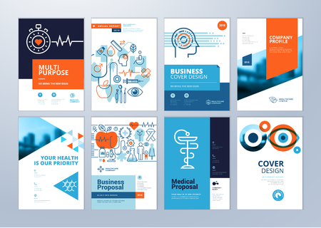 Set of medical brochure, annual report, flyer design templates in A4 size. Vector illustrations for medical, healthcare, pharmacy presentation, document cover and layout template designs.  イラスト・ベクター素材