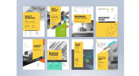 Ensemble de brochure, rapport annuel, modèles de conception de flyer au format A4. Illustrations vectorielles pour présentation commerciale, papier d'affaires, modèles de couverture et de présentation de documents d'entreprise. Vecteurs