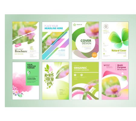 Set di brochure di prodotti naturali, relazione annuale, modelli di progettazione flyer in formato A4. Illustrazioni vettoriali per la bellezza, presentazione di prodotti biologici e cosmetici, copertina di documenti e modelli di layout. Archivio Fotografico - 94466065
