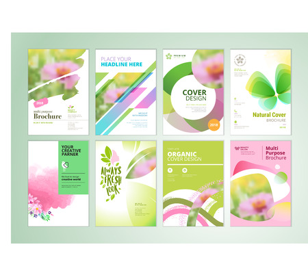 Set of natural product brochure, annual report, flyer design templates in A4 size. Vector illustrations for beauty, organic products and cosmetics presentation, document cover and layout template designs.