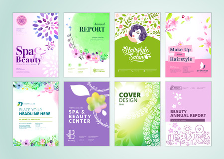 Set of beauty brochure, annual report, flyer design templates in A4 size.