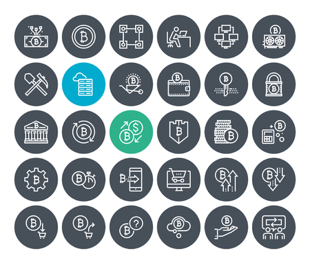 Thin line cryptocurrency icons set. Premium quality outline symbol collection of blockchain technology, bitcoin, altcoins, mining, finance, digital money market, cryptocoin wallet, stock exchange. Иллюстрация