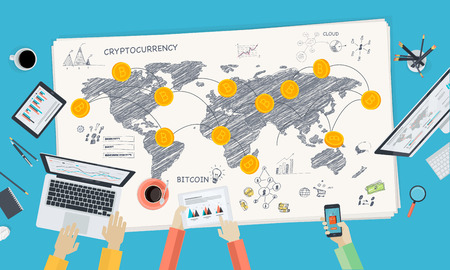 Bitcoin market. Flat design style web banner of blockchain technology, bitcoin, altcoins, cryptocurrency mining, finance, digital money market, cryptocoin wallet, crypto exchange. Illustration