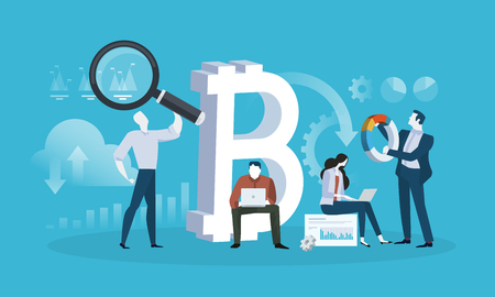 Blockchain technology. Flat design style web banner of blockchain technology, bitcoin, altcoins, cryptocurrency mining, finance, digital money market, cryptocoin wallet, crypto exchange.