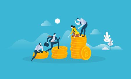 Digital money market. Flat design style web banner of blockchain technology, bitcoin, altcoins, cryptocurrency mining, finance, digital money market, cryptocoin wallet, crypto exchange.