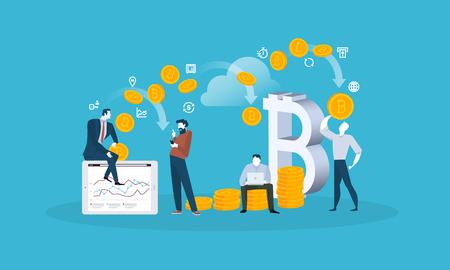 Blockchain. Flat design style web banner of blockchain technology, bitcoin, altcoins, cryptocurrency mining, finance, digital money market, cryptocoin wallet, crypto exchange. Illustration