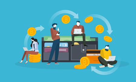 Cryptocurrency wallet. Flat design style web banner of blockchain technology, bitcoin, altcoins, cryptocurrency mining, finance, digital money market, cryptocoin wallet, crypto exchange.