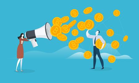 ビットコインマーケティング。ブロックチェーン技術、ビットコイン、アルトコイン、暗号通貨マイニング、金融、デジタルマネーマーケット、ク  イラスト・ベクター素材