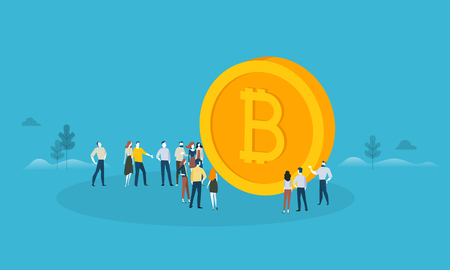 Bitcoin. Flat design style web banner of blockchain technology, bitcoin, altcoins, cryptocurrency mining, finance, digital money market, cryptocoin wallet, crypto exchange.